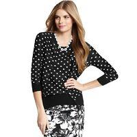 New ANN TAYLOR Womens Medium Black Mod Dot Cardigan Sweater M nwt
