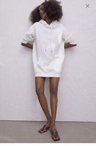 H&M Ladies Longline White Hoodie Size S (10-12) Worn Once
