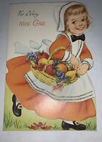 Vintage Norcross Thanksgiving Greeting Card Girl  Dressed as Pilgrim