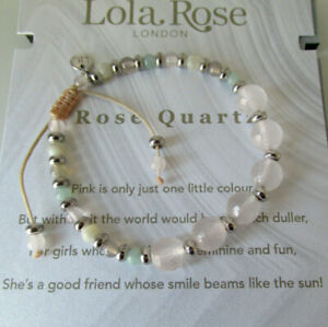 Lola Rose Friendship Bracelet Rose Quartz with Silver Tone Beads USED
