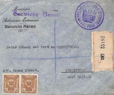 S306 PERU Cover 1936 Superb Official CACHET Air Mail Birmingham{samwells-covers}