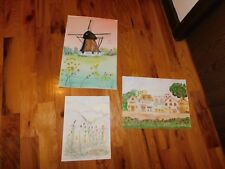 Wildflower Watercolor Dutch Windmill Marketplace Unsigned