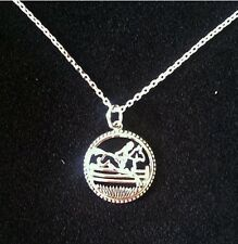 """STERLING SILVER NECKLACE WITH JUMPING HORSE PENDANT 16"""" CHAIN AND 2"""" EXTENTION"""