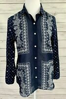Old Navy Classic Top Womens Small S Blue Paisley Button Long Sleeve Collared