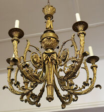 SUPERB French Solid Bronze Chandelier W Greek Key & Rams Heads Great Patina 1890