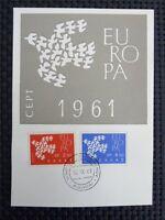 GREECE MK 1961 EUROPA CEPT TAUBE PIGEON DOVE CARTE MAXIMUM CARD MC CM c4049