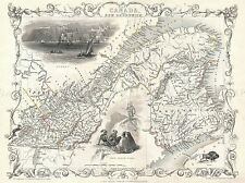 1850 TALLIS MAP EAST CANADA QUEBEC NEW BRUNSWICK EAST POSTER ART PRINT 2897PYLV