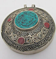 Beautiful Engraved Antique Indian-Nepal Tibetan Silver Turquoise Gem Pendant 45g