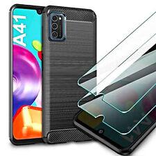 COVER per Samsung Galaxy A41 CUSTODIA ORIGINALE Carbon Case VETRO TEMPERATO 9H