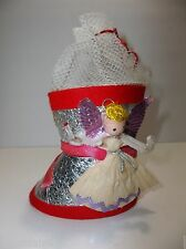 "Antique Dresden Stocking Candy Container Christmas Decoration 4"" Purple Wings"