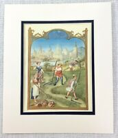 1937 Antique Imprimé Récolte Cultures Ferme Travailleurs Médiévale Art Peinture