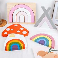 Wooden Rainbow Stacking Toy Kids Baby Educational Learning Toys Home Decor