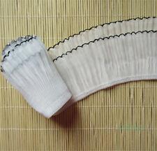 5 yd Vintage White Black Stretch Pleated Lace Edge Trim Gathered Wedding Ribbon