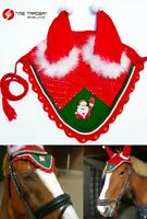 Santa Claus Christmas Equestrian Fly Veil / Horse Fly Mask / Ear Bonnet Ear Net
