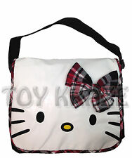 "HELLO KITTY MESSENGER! WHITE FAUX LEATHER PLAID BOW LARGE SCHOOL BAG 14"" NWT"