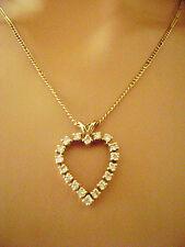 18 DIAMOND HEART pendant necklace 1.26 Carats brilliant fine full cut VS2 G