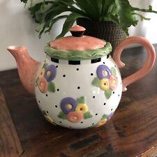 Mary Engelbreit Salmon, Purple, Yellow Flower Teapot by Michel & Co 2001