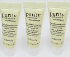 3 x PHILOSOPHY Purity Made Simple Moisturizer .25oz/7mL Each, Travel Size - NEW!