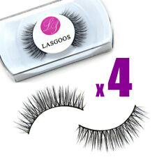 LASGOOS 4 Pairs 100% Mink Hair False Eyelashes School Life Sparse Eye Lash #010