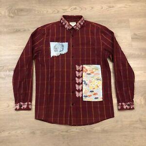 Frank & Oak Rue St-Viateur Mens Medium Plaid Artsy Cotton Button Shirt Patches