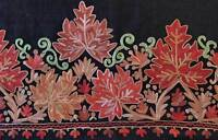 Burgundy & Gold Flowers Crewel Embroidered on Black Wool Kashmir Shawl Stole