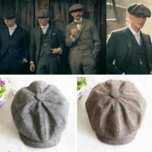 Men's Flat Cap With Peak Baker Boy Wool Newsboy Herringbone Cloth Golf Cap Hat
