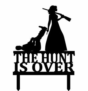 Custom The Hunt Is Over Funny Wedding Cake Topper Bride And Groom Decoration New