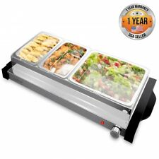 NutriChef PKBFWM35 Large Electric Hot Plate Buffet Server Food Warmer,