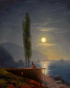 Ivan Konstantinovich Aivazovsky Figures By A Moonlit Shore  1858  Art  Canvas