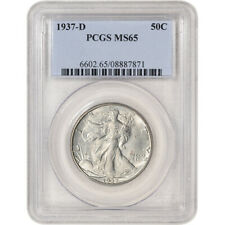 1937-D US Walking Liberty Silver Half Dollar 50C - PCGS MS65