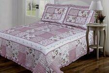 3PC Coverlet Bedspread set  Purple Floral Patchwork w/ Ruffle Bias Queen Size