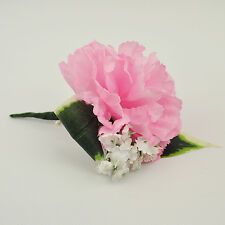 Artificial Silk Flowers Single Carnation Buttonhole Pink