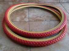Set of BMX Tires old school type 20x1.75 and 20x2.125 Red/Gum GT Dyno