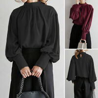 Elegant Ladies Lantern Sleeve Shirt Tops Stand Collar Blouse Keyhole Jumper Tops