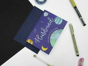 Cute Holographic Space Greetings Card For Husband