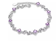 7.8ct Purple Made With Swarovski Elements Infinity Bracelet 18k White Gold