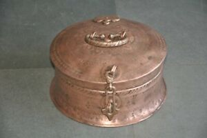 Old Copper Inlay Engraved Work Round Handcrafted Solid Jewellery Box