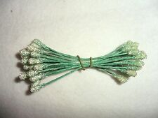 Vintage 24 Double Ended Light Green Sugar Mica Stamens made in Japan