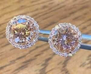 4.00Ct Round Cut Morganite Diamond Halo Stud Earrings 14K Rose Gold Finish