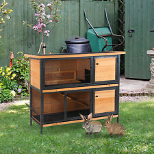 Wooden Metal Rabbit Hutch Pet House Bunny w/ Slide-Out Tray Outdoor Light Yellow