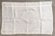 "Vintage Beige Ecu Linen Mantle Vanity Dresser Scarf Butterfly 24"" X 16"""