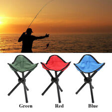 Foldable Tripod Chairs Outdoor Camping Fishing BBQ Triangle Seat Stool Chair UK
