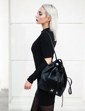 Zara Black Backpack With  Real Suede Detail Handbag BNWT