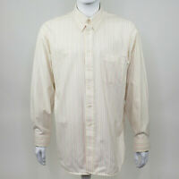 Haggar Men's Athletic Fit Beige Pink Striped Long Sleeve Button Down Size 18 35