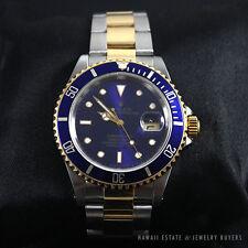 ROLEX 1989 SUBMARINER 16613 BLUE DIAL SS & 18K YELLOW GOLD WATCH 40MM