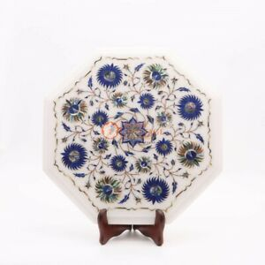 Marble Table Top Alternative Lapis Marquetry Floral Fine Design Bedroom Decor
