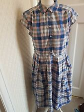Great Plains Pretty Pink And Blue Checked Dress Size Large New