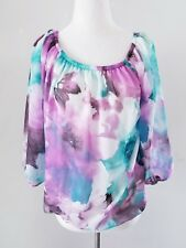 SWEET PEA FOR NEW YORK AND CO WATERCOLOR BLOSSOM TOP SZ S 4 6