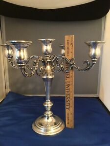 International Sterling Silver 5-Candle 3 Pc Convertible Candelabra N287 Arms #61