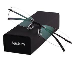 Pure Titanium Rimless Frame Classic Prescription Eyeglasses Rx Clear Lenses